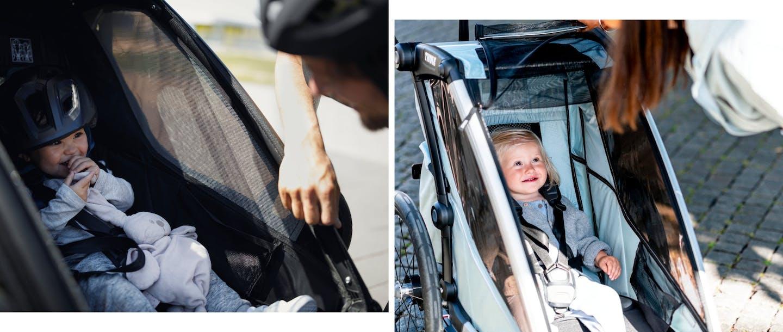 Collage di foto di bambini in passeggini