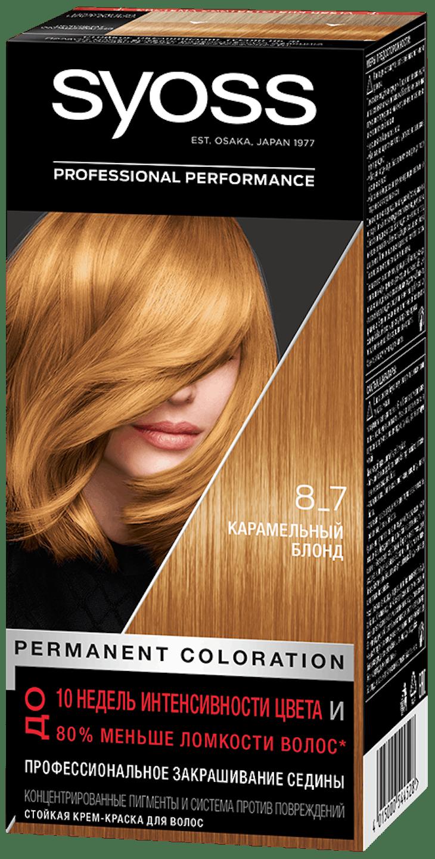Стойкая крем-краска Syoss Карамельный блонд 8_7 shot pack