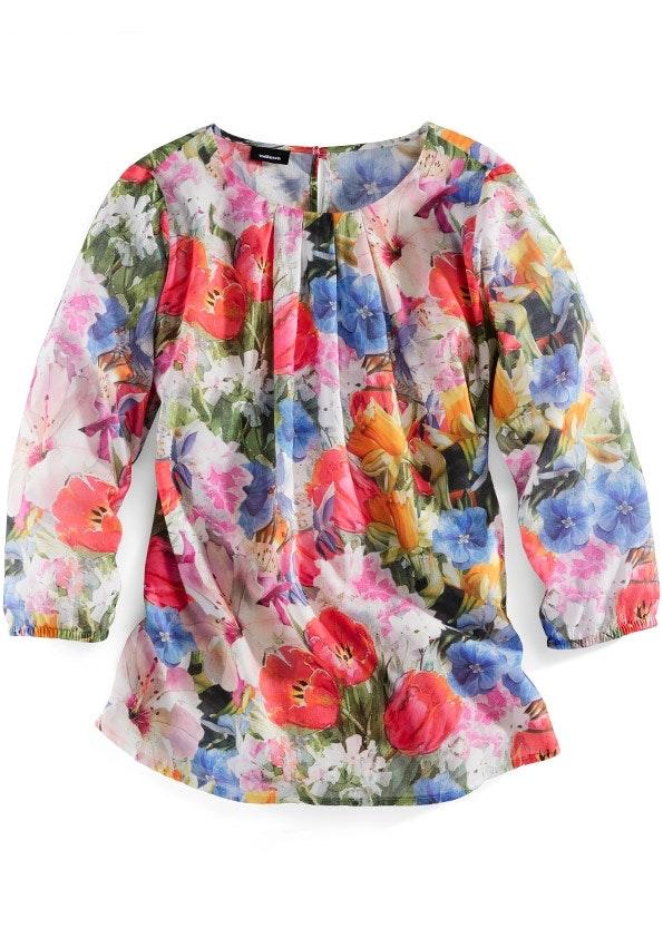 Bluse mit 3/4-Ärmel, gerafftem Ausschnitt und großem Blumenmuster.