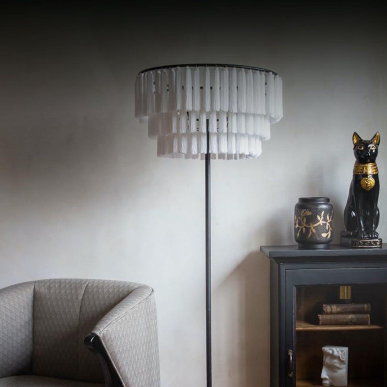 White tassel floor lamp
