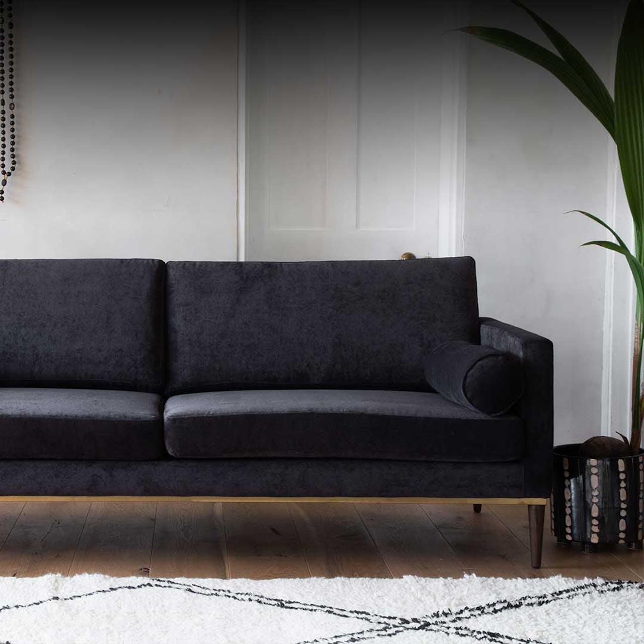 Black Velvet Danish Sofa
