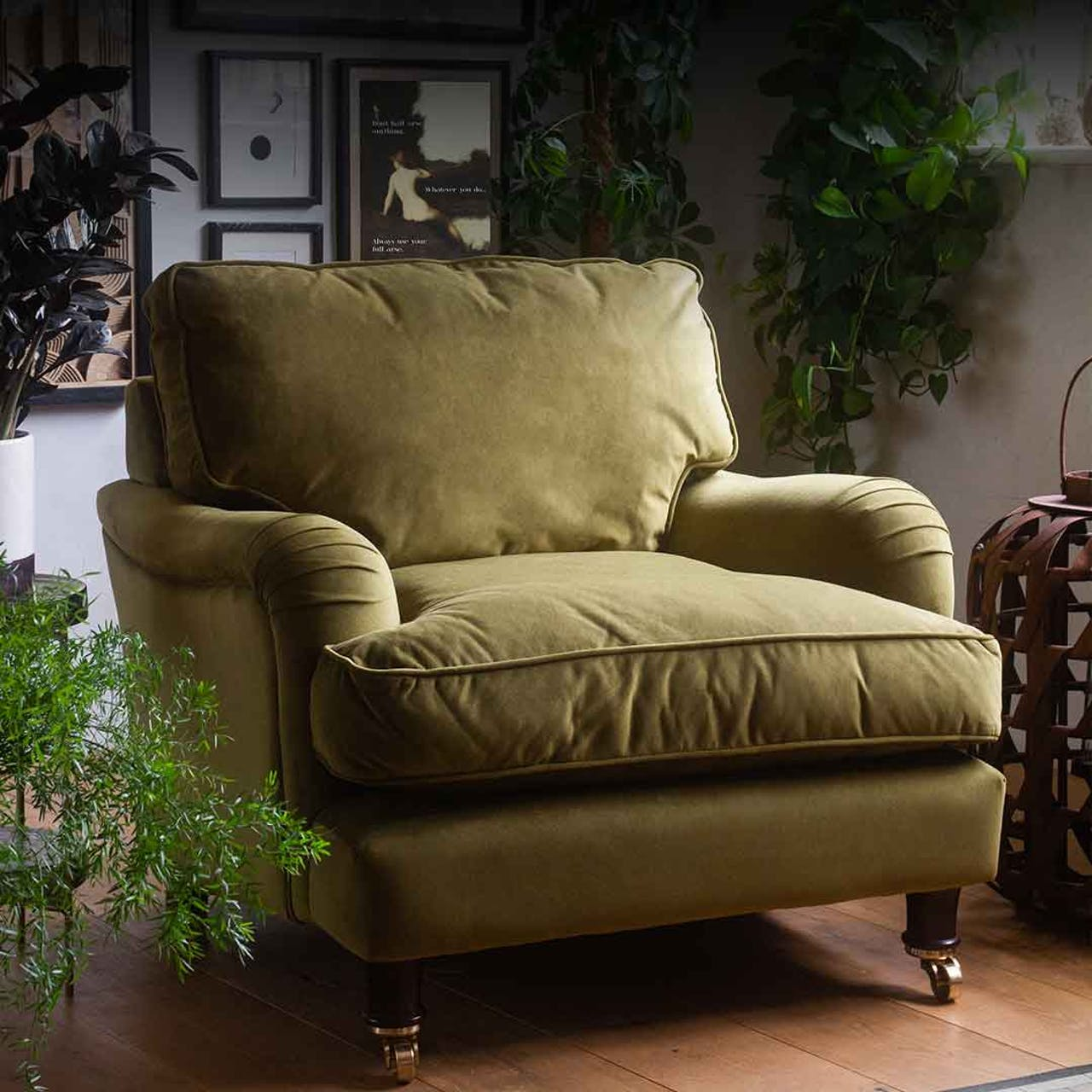 green velvet armchair in front of picture wall a plants