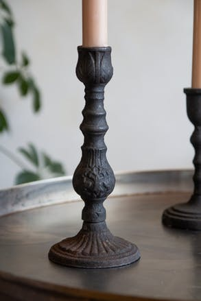 Image of the Tall Roman-Style Patterned Cast Iron Candlestick Holder