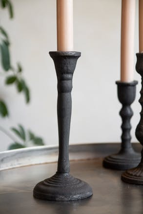 Image of the Tall Traditional Cast Iron Candlestick Holder on a white background