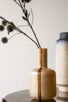 Close-up image of the detailing on the Ivory Enamel Art Deco Bottle Neck Vase