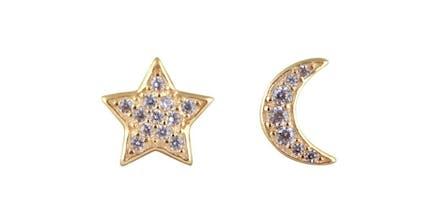 Puces d'oreilles Samoa en vermeil jaune étoile et lune et leurs petits zircons