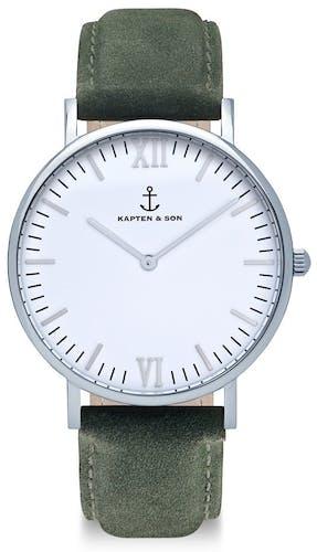 Montre KAPTEN & SON CLASSICS Femme avec Boitier Rond 36 mm et Bracelet Cuir Vert