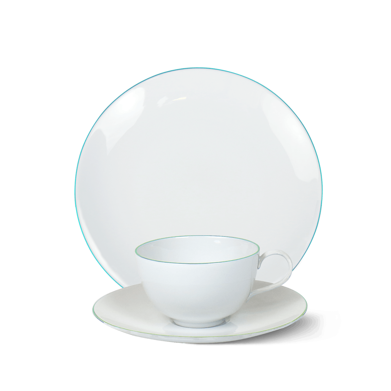 3-teiliges Frühstücks-Set, URBINO, Blauer Rand