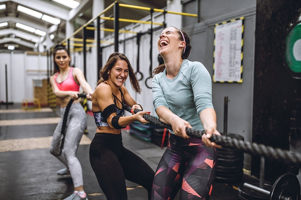 Girls in the gym with rope