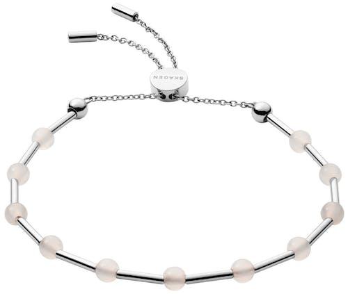 Ce Bracelet SKAGEN est en Acier Gris et Verre Rose