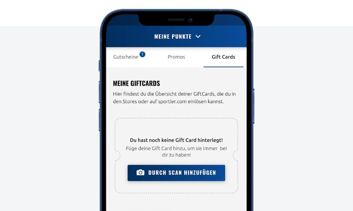 Bildschirmansicht Gift Card App SPORTLER