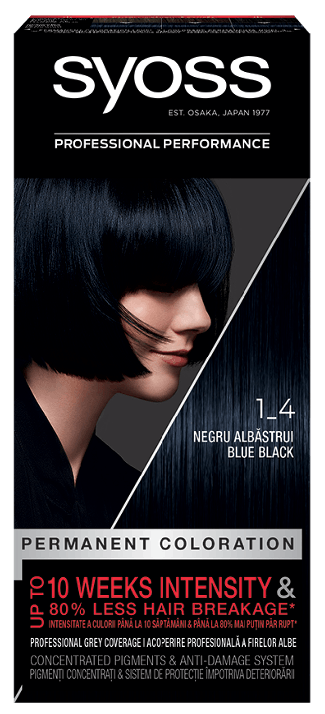 Vopsea de păr permanentă Syoss 1-4 Negru Albăstrui  pack shot