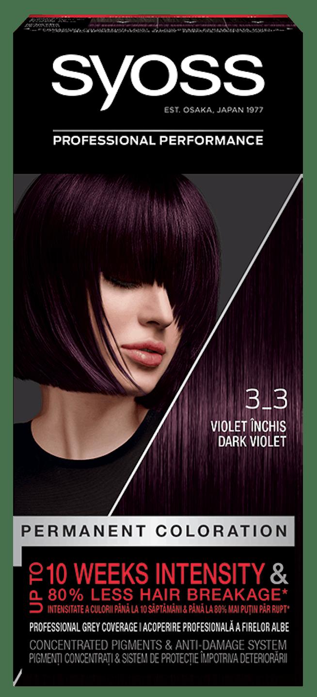 Vopsea de păr permanentă Syoss 3-3 Violet Închis pack shot