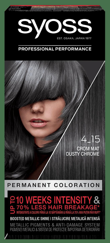 Vopsea permanentă de păr Syoss 4-15 Crom Mat pack shot