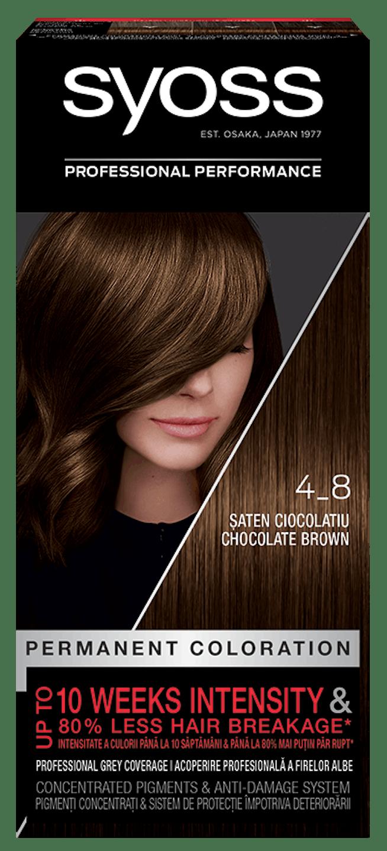 Vopsea de păr permanentă Syoss 4-8 Șaten Ciocolatiu  pack shot