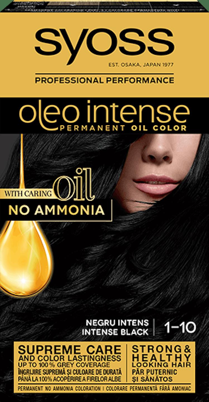 Syoss oleo intense vopsea permanentă cu ulei - nuanta negru intens 1-10 pack shot