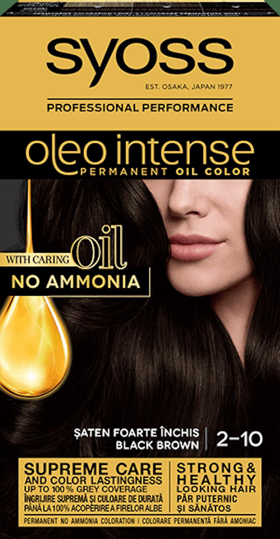 Syoss oleo intense vopsea permanentă cu ulei - nuanta șaten foarte închis 2-10 pack shot