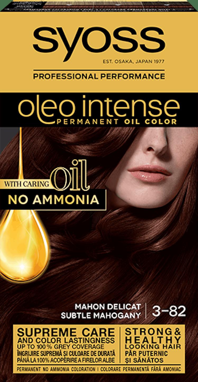 Syoss oleo intense vopsea permanentă cu ulei - nuanta mahon delicat 3-82 pack shot