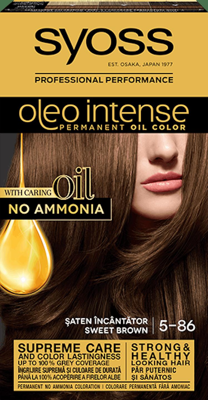Syoss oleo intense vopsea permanentă cu ulei - nuanta șaten încântător 5-86 pack shot