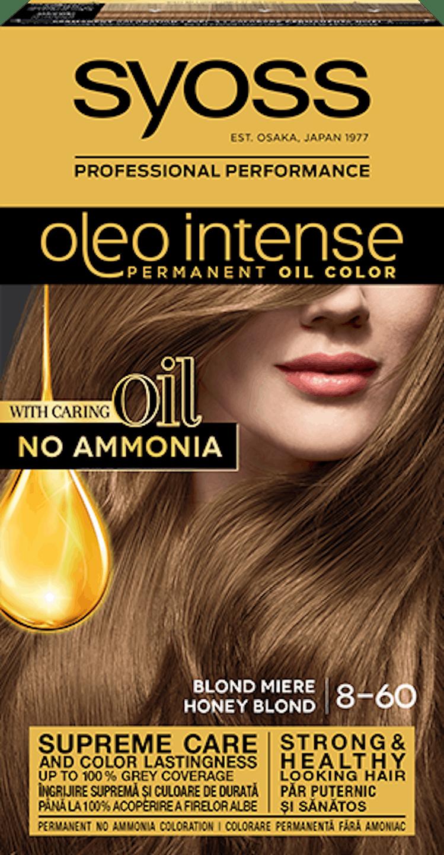 Syoss oleo intense vopsea permanentă cu ulei - nuanta blond miere 8-60 pack shot