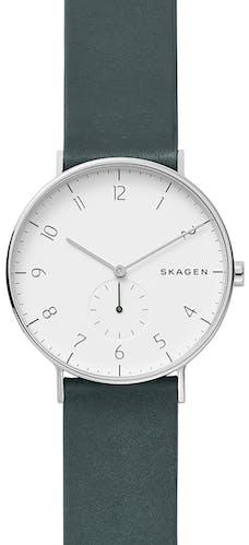 Cette montre SKAGEN se compose d'un boîtier Rond de 40 mm et d'un bracelet en Cuir Vert