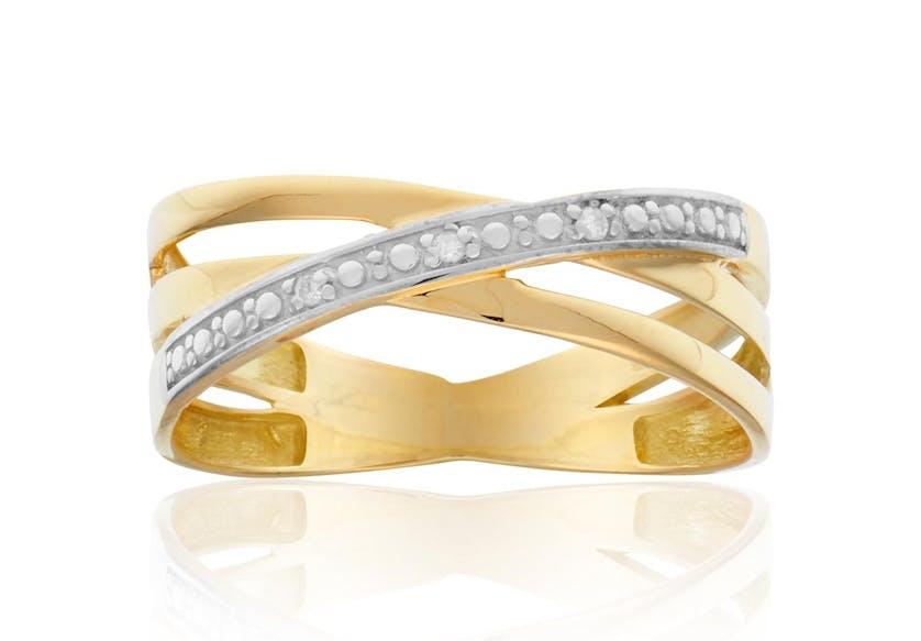 Cette Bague CLEOR est en Or 375/1000 Jaune et Diamant Blanc