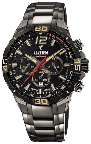 Cette montre FESTINA se compose d'un boîtier Rond de 44 mm et d'un bracelet en Acier Gris