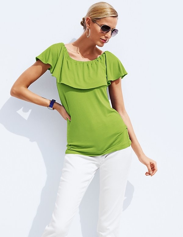 Off-Shoulder-Shirt mit Volant