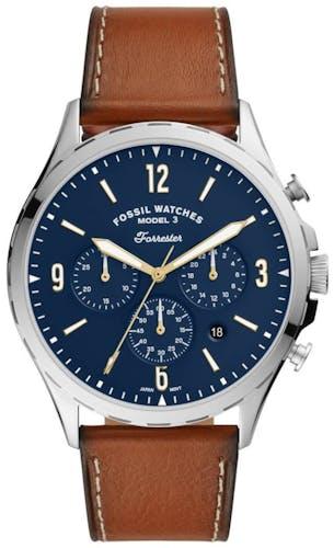 Cette montre FOSSIL se compose d'un boîtier Rond de 46 mm et d'un bracelet en Cuir Véritable de Vache Brun