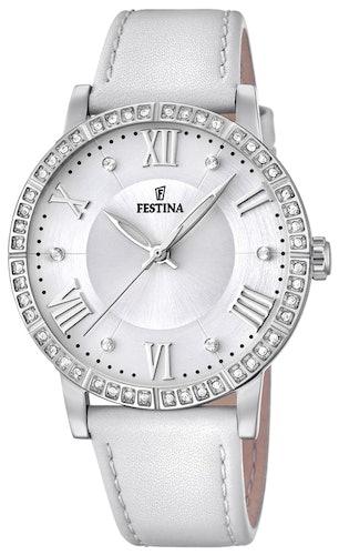 Cette montre FESTINA se compose d'un boîtier Rond de 36 mm et d'un bracelet en Cuir Blanc
