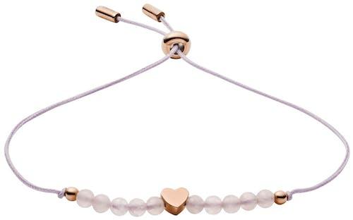 Ce Bracelet FOSSIL est en Acier Rose et Quartz Rose