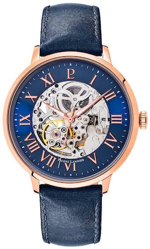 Cette Montre automatique PIERRE LANNIER se compose d'un Boîtier Rond de 42 mm et d'un bracelet en Cuir Bleu
