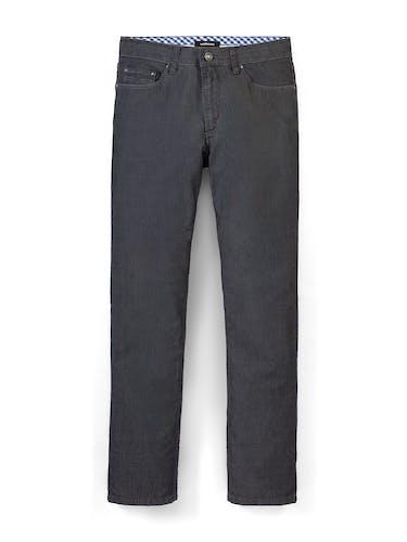 Dunkle Hose mit zwei Taschen und gemustertem Innenfutter.