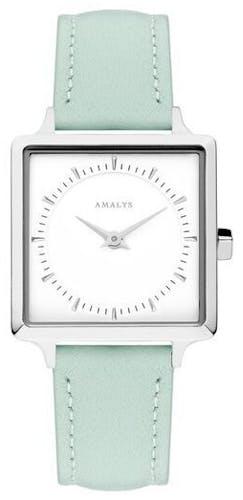 Cette montre AMALYS se compose d'un boîtier Carré de 25 mm et d'un bracelet en Cuir Vert