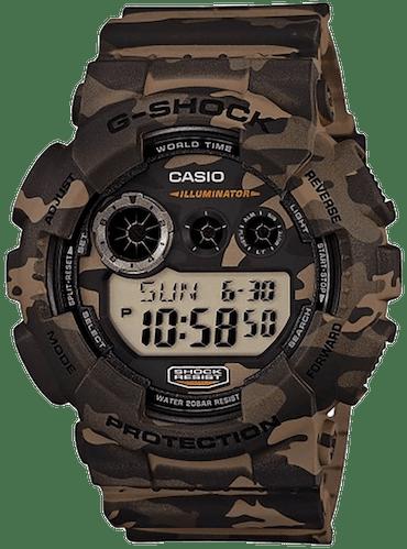 Montre G-Shock Homme, Boîtier Rond Camouflage, Bracelet Résine Camouflage