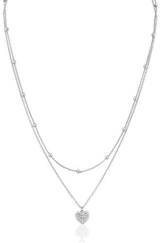 Ce Collier CLEOR en forme de Cœur est en Argent 925/1000 et Oxyde