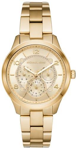 Cette montre MICHAEL KORS se compose d'un boîtier Rond de 38 mm et d'un bracelet en Acier Jaune