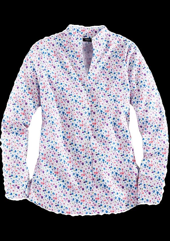 Mit feinen Blumen in Blau, Lila und Rosa bedruckte, weiße Bluse mit Kelchkragen.