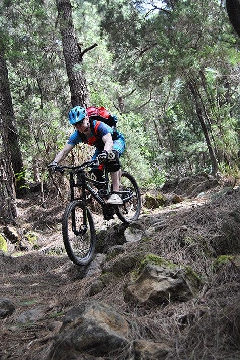 Die steilen Abfahrten durch dichte Wälder verlangen uns einiges ab.