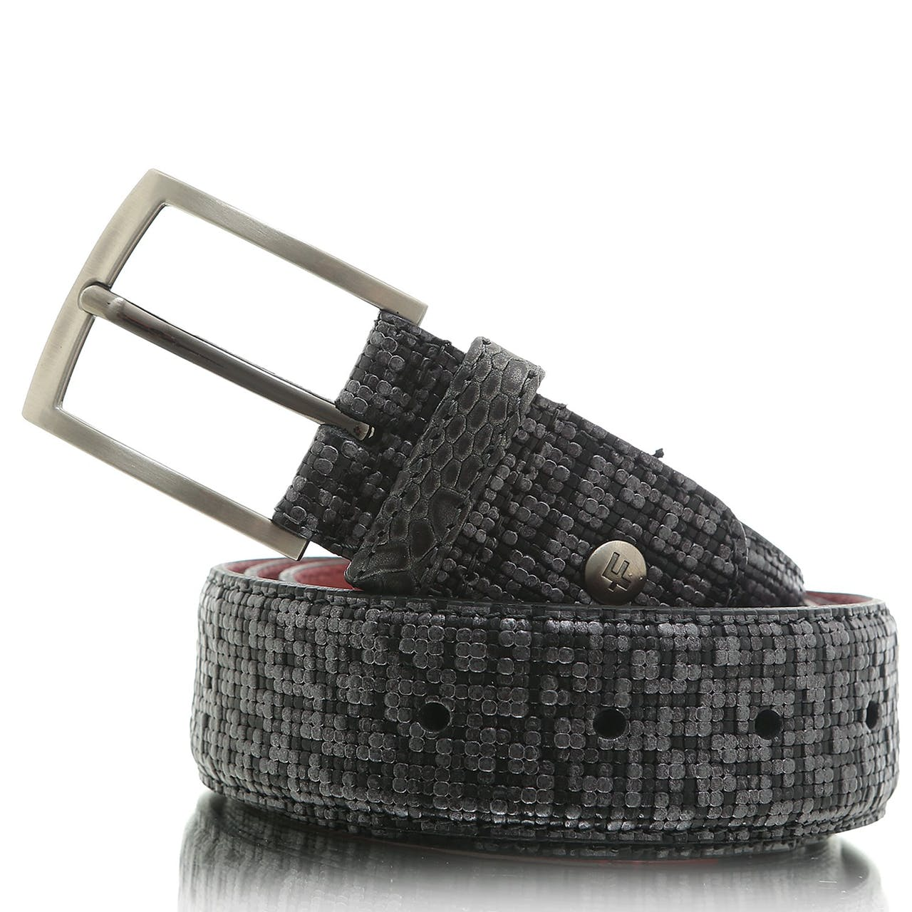 FLORIS VAN BOMMEL Belt 75188/72 Grey print Metal
