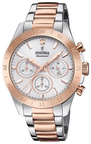 Cette montre FESTINA se compose d'un boîtier Rond de 38 mm et d'un bracelet en Acier Rose