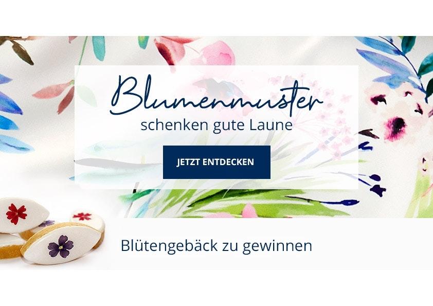Bunte Blumen auf weißem Hintergrund mit blauer Schrift.