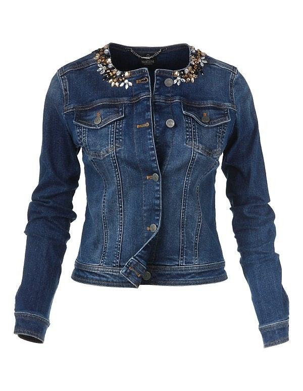 Jeansjacke mit Ziersteinen