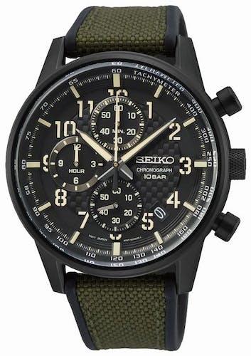 Cette montre SEIKO se compose d'un boîtier Rond de 42.7 mm et d'un bracelet en Nylon et Silicone Vert