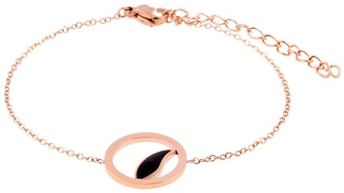 Ce Bracelet MISSISSIPI est en Acier Rose et Email Noir