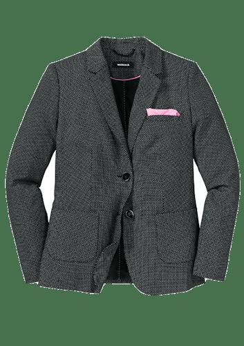 Taillierter, schwarzer Blazer mit weißen Pünktchen