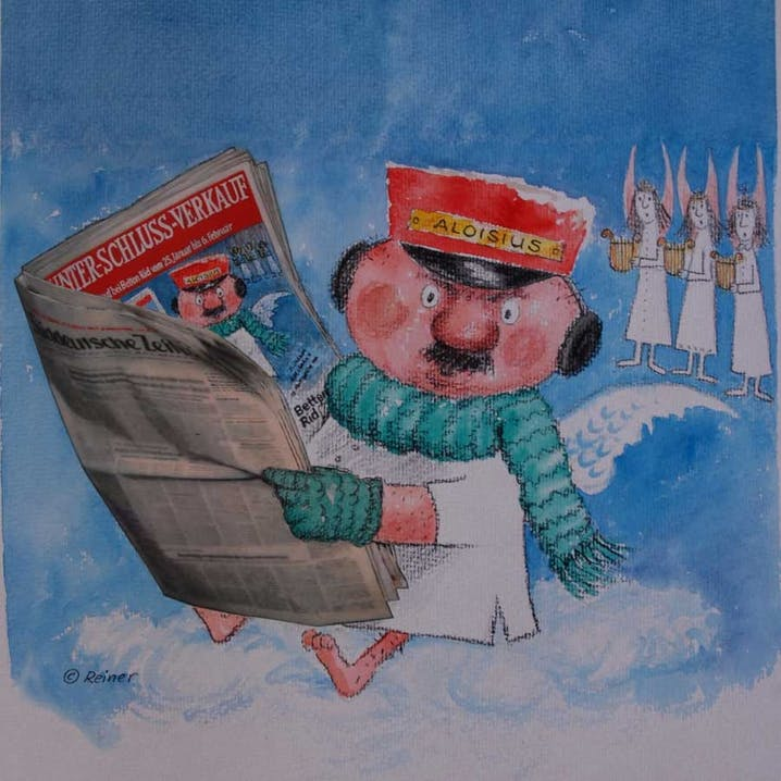 """Werbefigur """"Aloisius"""" liest in der Zeitung über den BETTENRID-Schlussverkauf"""