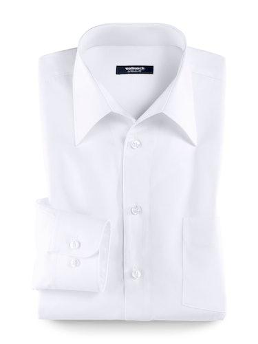 Weißes Hemd mit Manschette und Walbusch-Kragen.