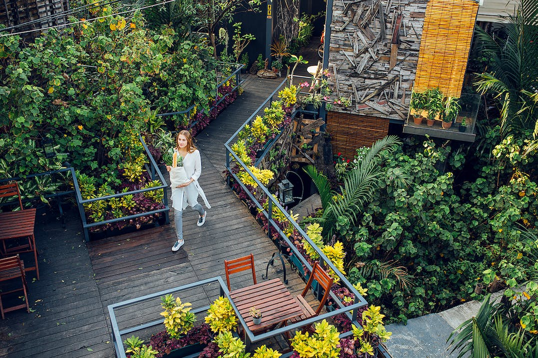 Woman carrying bag of vegetables, walking on wooden terrace with tables and chairs, surrounded by green bushes