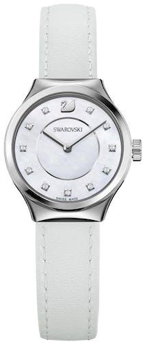 ette montre SWAROVSKI se compose d'un Boîtier Rond de 28 mm et d'un bracelet en Cuir Véritable de Veau Blan